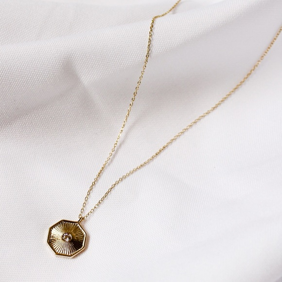 18k Gold Plated Sunbeam Coin Pendant Necklace